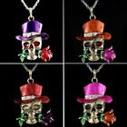 Retro Skull Rose Flower Love Pendant Necklace Chain Jewelry Women Party Hot Gift