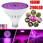 100W 290 LED Grow Light Bulb Plant Grow Lamp E27 Full Spectrum Garden Fruit Veg