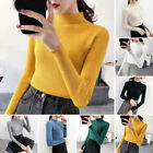 Women Knitted Long Sleeve Sweater Plain Casual Slim Fit Jumper Pullover Tops
