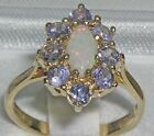 Solid 14ct Yellow Gold Natural Opal & Tanzanite Womens Cluster Ring