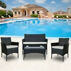 4pcs/set Outdoor Rattan Wicker With Cushion Garden Patio Poolside Furniture