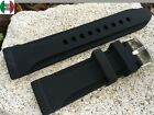 24mm Diver Scuba Bevelled Black Silicone Watch Band Strap Buckle Seiko + Others  image
