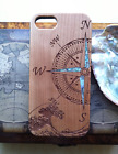 Compass design wooden phone case with abalone inlay