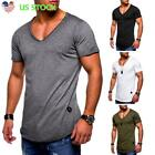 Men's Casual Plain Short Sleeve V-neck T-shirts Tops Blouse Slim Fit Muscle Tee image