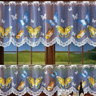 """White Kitchen Cafe Net Curtain Butterflies Width Sold By Metres Drop 20"""" Or 28"""""""