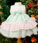 DREAM SALE 0-3 1.2 YEARS MINT PINK LINED TRADITIONAL DRESS OR REBORN DOLLS