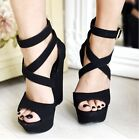 WOMENS LADIES HIGH WEDGE BUCKLE PLATFORM SUMMER PEEP TOE ANKLE SANDALS SHOES SZ