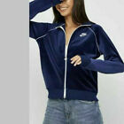 $75 NEW Nike Women's Sportswear Velour Jacket Blue/White CJ4912-492 SIZES S -  M