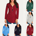 Women Long Sleeve Tunic Tops Pullover Ladies Casual Baggy Zip Blouse T-shirt Tee