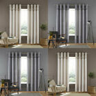 Catherine Lansfield Melville Woven Texture Eyelet Curtains