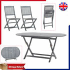 Garden Table Chairs Folding Solid Acacia Wood Outdoor Indoor Terrace Dining Grey
