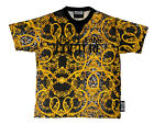 Versace Jeans Couture Black/Gold 100% Cotton Baroque Print Short Sleeve Knit