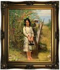 Brown Blackberry Picking 1875 Wood Framed Canvas Print Repro 20x24