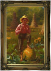 Brown That's me pumpkin 1874 Wood Framed Canvas Print Repro 12x18