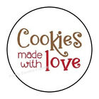 """30 COOKIES MADE WITH LOVE ENVELOPE SEALS LABELS STICKERS PARTY FAVORS 1.5"""" ROUND"""