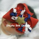 Red White Blue Gold Star Boutique Korker Hair Bow Headband Preemie 2 Toddler