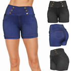 Внешний вид - Women Denim Look High Waist Summer Causal Stretchy Cotton Shorts