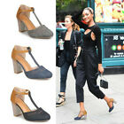 Occident Summer Womens Block High Heels T-strap Ankle Buckle Sandals Shoes Round