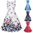 Women's Vintage 1950s Floral Pinup Dress Party Cocktail Formal Tea Swing Dresses