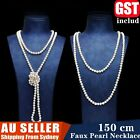 150cm Long Glass Faux Pearl Necklace 1920's Burlesque Snow Earing Wedding Party