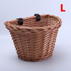 Vintage Wicker Bike Basket Matched PU Leather Adjustable Strap Bicycle/Shopping