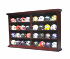 32 Pocket Size Mini Football Helmet Display Case Shadow Box Wall Cabinet Stand