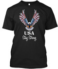 Usa Stay Strong Flag T-Shirts Gift Tee size M-3XL US Men's Shirt Trend image