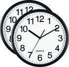 Bernhard Products Black Wall Clock Silent Non Ticking - Quality Quartz Battery .