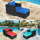Rattan Wicker Armrest Sofa Set Cushioned Couch Lounge Chair Garden Furniture