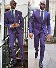 Purple Men Suits Tailored Business Peak Lapel Wedding Groom Formal Coat Pants
