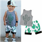 FixedPrice2pcs summer newborn baby boys sleeveless print t-shirt tops shorts set outfits