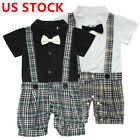 US Baby Boys Gentleman Jumpsuit Wedding Party Formal Outfit Short Sleeve Costume