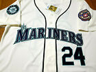 Brand New Seattle Mariners #24 Ken Griffey Jr.Throwback 2patch sewn Jersey W/Ivo
