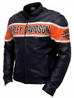 Harley Davidson Motorcycle Victory Lane Biker Genuine Cowhide Leather Jacket $100.91 USD on eBay