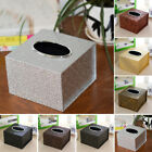 Waterproof PU Leather Home Office Box Square Tissue Holder Stylish Inner Car