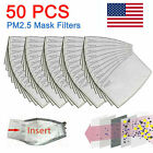 50 Pack PM2.5 Activated Carbon Filters 5 Layer Replacement For Face Mask Cove
