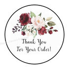 30 Thank You For Your Order Burgundy Flower Envelope Seals Labels Stickers 1.5