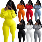 Women Ribbing Solid Long Sleeve Top Casual Club Sport Tight Trousers 2pcs Set