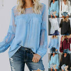 Fashion Womens Lace Patchwork Long Sleeve Tops Ladies Casual Loose Top Blouse