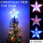 LED Christmas Tree Decorations Topper Xmas Star Light Up Glitter 8 Flashing Mode
