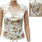WHITE FLORAL LACE UP FRONT FITTED BODICE TOP BLOUSE ALTERNATIVE  STEAM PUNK