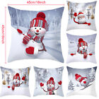 "18"" Christmas Snowman Cushion Cover Velvet Pillow Case Home Sofa Throw Decor"