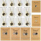 12constellation Day & Night Star Zodiac Sign Necklace Pendant Gold Silver Choker