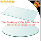 Table Top Dining Coffee Table Protector Tempered Glass Square Round Multi Sizes