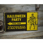 Halloween Party This Way Vintage Distressed Sign, Personalized Wood Sign