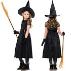 Kids Girls Witch Halloween Cosplay Costume Party Fancy Dress Hat Gloves Outfits