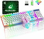 Rainbow Backlit Wireless Gaming Keyboard and Mouse Sets Rechargeable For PC PS4