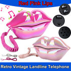 Wired Retro Vintage Telephone Corded Desktop Phone Red Pink Lips For Home Office