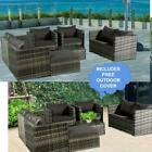 8 Seater Grey Rattan Corner Sofa Chair Table Outdoor Garden Furniture Patio Set