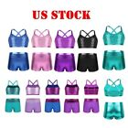 US Girl Dance Ballet Outfit Jazz Gymnastics Sequins Crop Top Shorts Yoga Costume